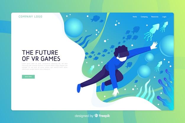 Plantilla de página de aterrizaje de realidad virtual vector gratuito