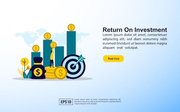 Plantilla de página de aterrizaje. retorno de la inversión Vector Premium