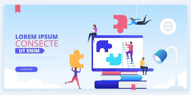 Plantilla de página de aterrizaje de team building Vector Premium