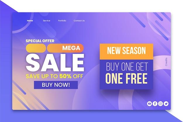 Plantilla de página de aterrizaje de ventas abstractas vector gratuito