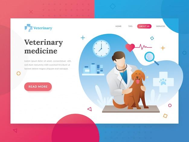 Plantilla de página de aterrizaje de veterinaria. Vector Premium