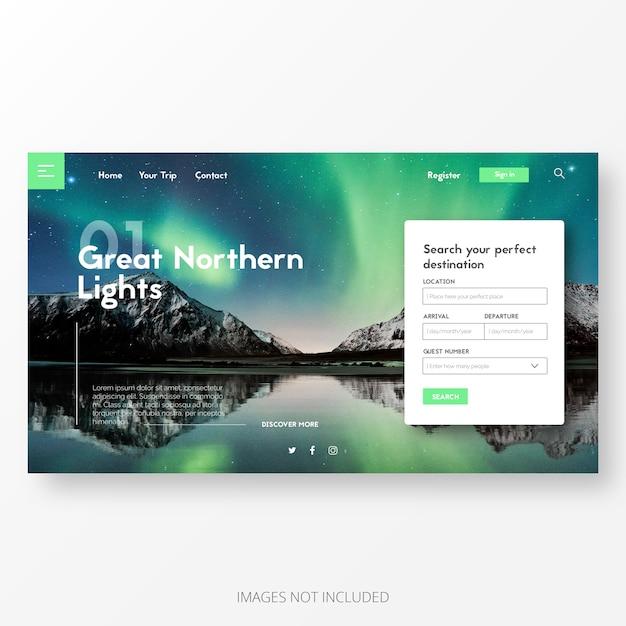 Plantilla de página de aterrizaje de viajes y aventuras vector gratuito