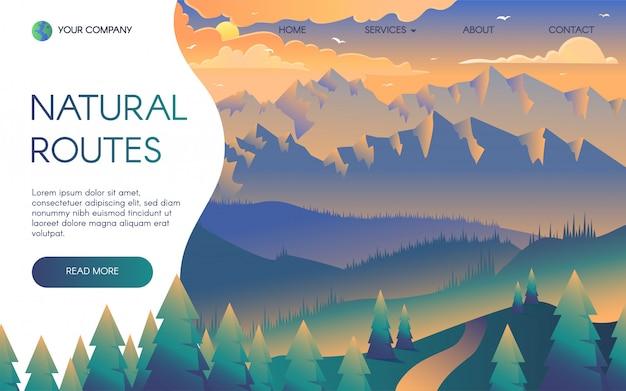 Plantilla de página de aterrizaje de viajes de montaña Vector Premium