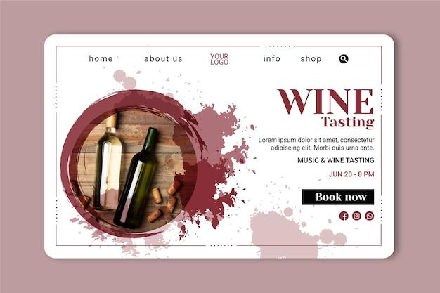 Plantilla de página de aterrizaje de vino vector gratuito