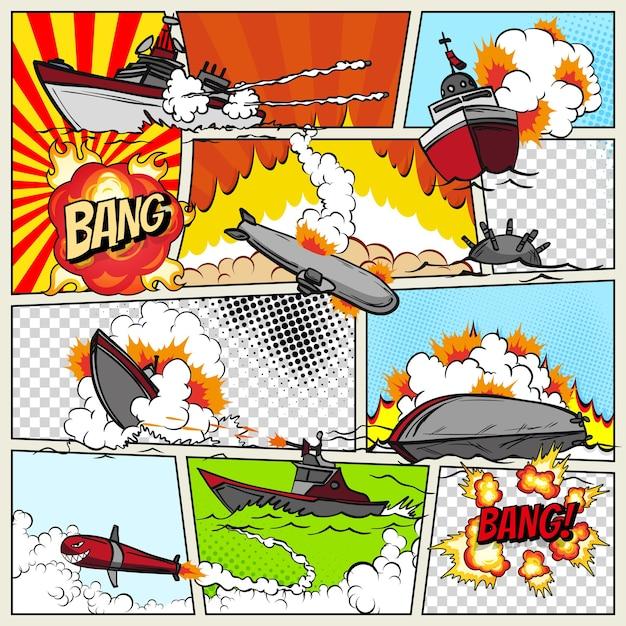Plantilla de página de cómic con buques de guerra. barcos de arte pop que explotan. Vector Premium
