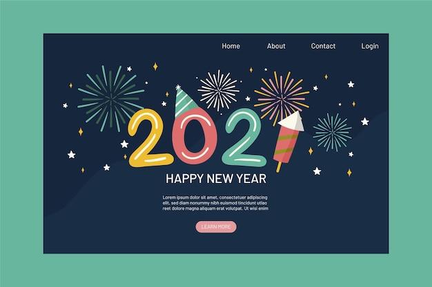 Plantilla de página de destino de año nuevo dibujada a mano Vector Premium