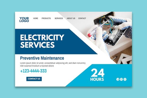 Plantilla de página de destino de anuncio de electricista vector gratuito