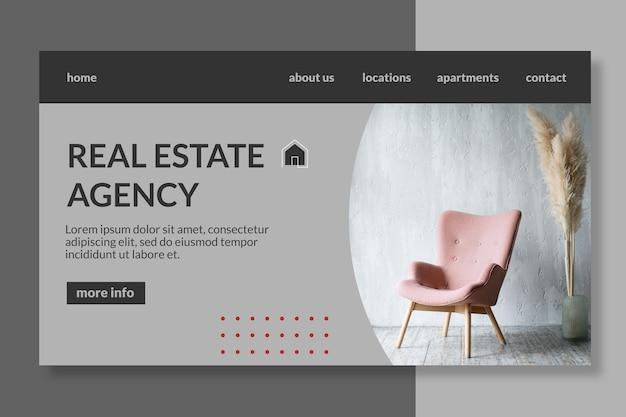 Plantilla de página de destino de bienes raíces vector gratuito