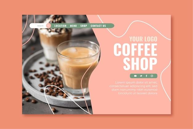 Plantilla de página de destino para cafetería. vector gratuito