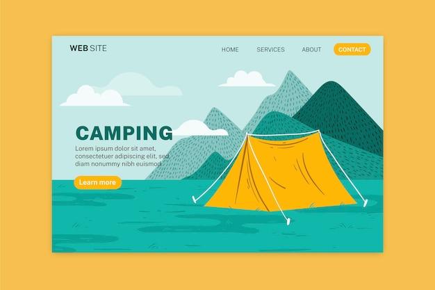 Plantilla de página de destino de camping vector gratuito