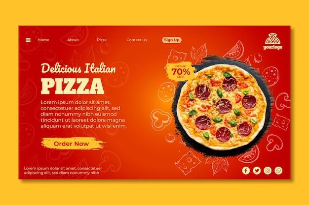 Plantilla de página de destino de comida italiana vector gratuito