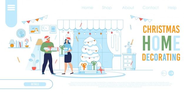 Plantilla de página de destino para compras navideñas en línea Vector Premium