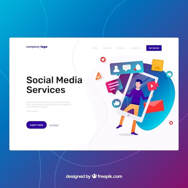 Plantilla página de destino con concepto de social media vector gratuito