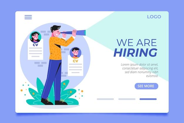 Plantilla de página de destino de contratación con hombre ilustrado vector gratuito