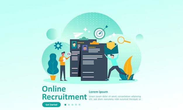 Plantilla de página de destino de la contratación de trabajo con carácter Vector Premium