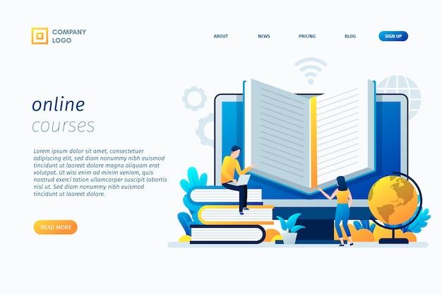 Plantilla de página de destino de cursos en línea vector gratuito