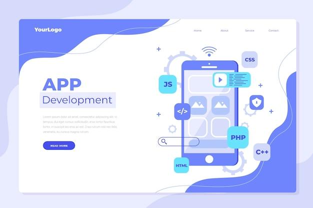 Plantilla de página de destino de desarrollo de aplicaciones Vector Premium