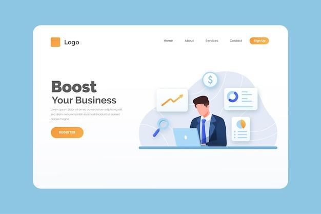 Plantilla de página de destino empresarial Vector Premium