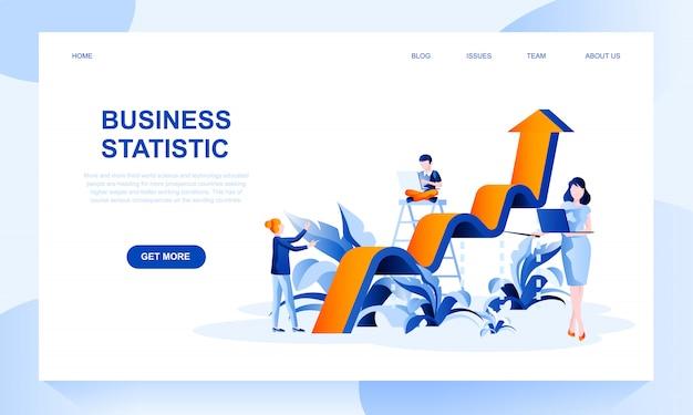 Plantilla de página de destino de estadísticas comerciales con encabezado Vector Premium