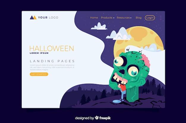 Plantilla de página de destino de halloween de diseño plano vector gratuito