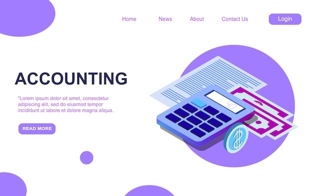 Plantilla de página de destino isométrica de contabilidad y auditoría. informe de análisis financiero diseño de página web de servicios de consultoría Vector Premium