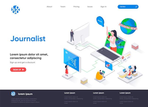 Plantilla de página de destino isométrica de periodista Vector Premium