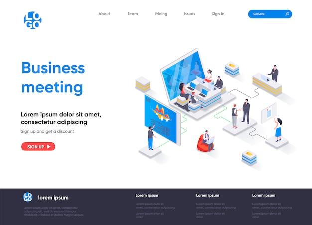 Plantilla de página de destino isométrica de reunión de negocios Vector Premium