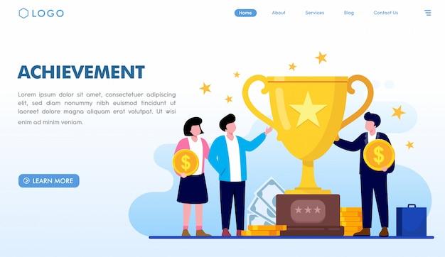 Plantilla de página de destino de logros Vector Premium