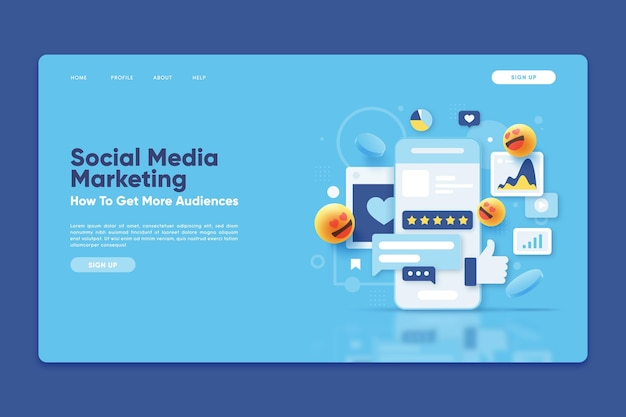 Plantilla de página de destino con marketing en redes sociales vector gratuito