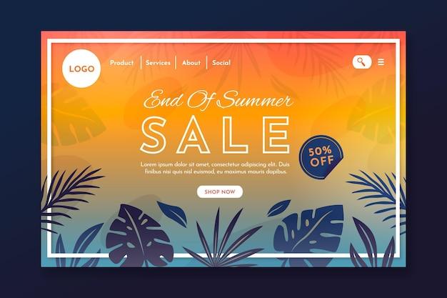 Plantilla de página de destino de ofertas de verano de fin de temporada vector gratuito