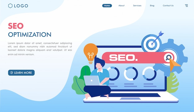 Plantilla de página de destino de optimización seo Vector Premium