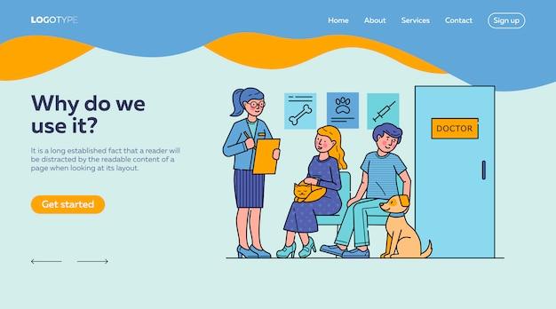Plantilla de página de destino para personas con mascotas esperando al médico en la cola vector gratuito