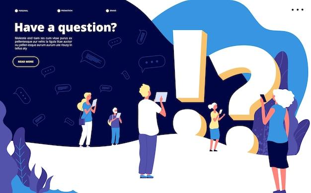 Plantilla de página de destino de preguntas frecuentes Vector Premium