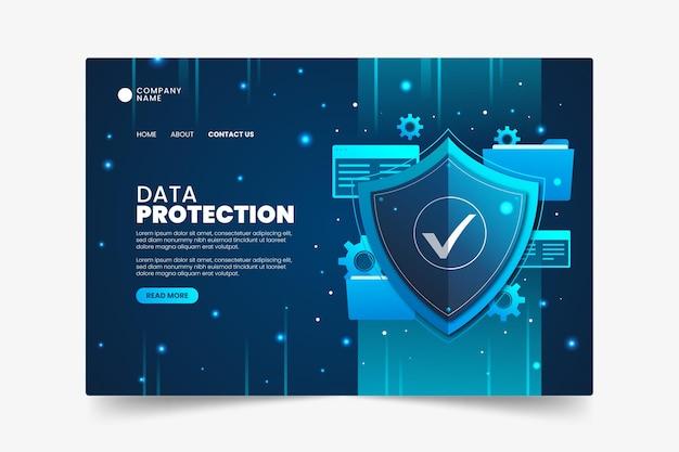 Plantilla de página de destino de protección de datos Vector Premium