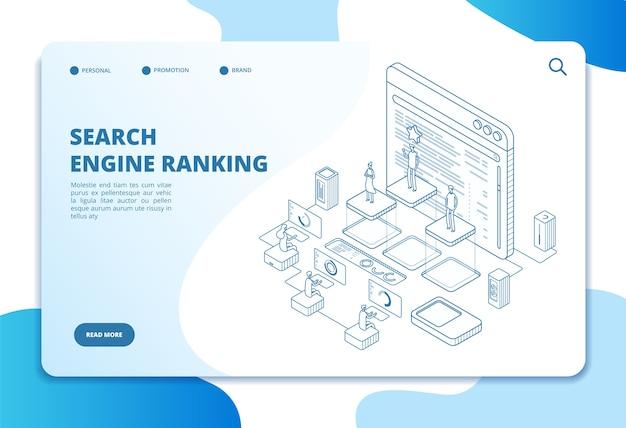 Plantilla de página de destino de ranking de motores de búsqueda Vector Premium