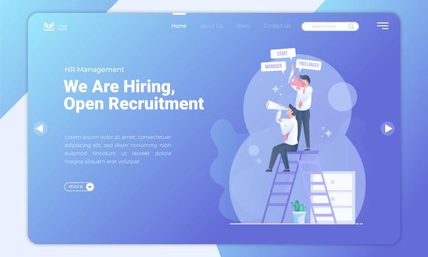 Plantilla de página de destino de reclutamiento abierto Vector Premium