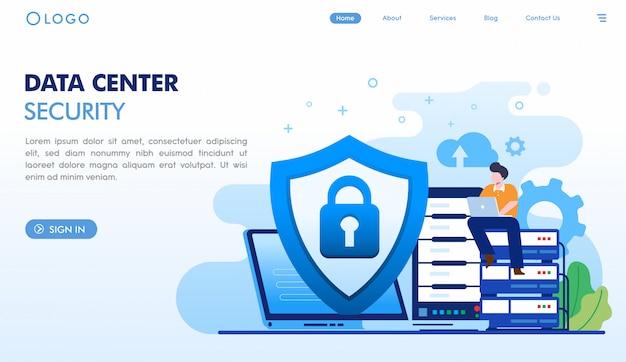 Plantilla de página de destino de seguridad del centro de datos Vector Premium