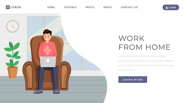 Plantilla de página de destino de trabajo de outsourcing independiente Vector Premium