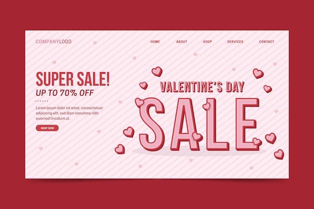 Plantilla de página de destino de venta del día de san valentín vector gratuito