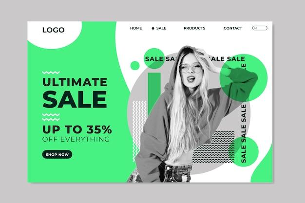 Plantilla de página de destino de venta de moda Vector Premium