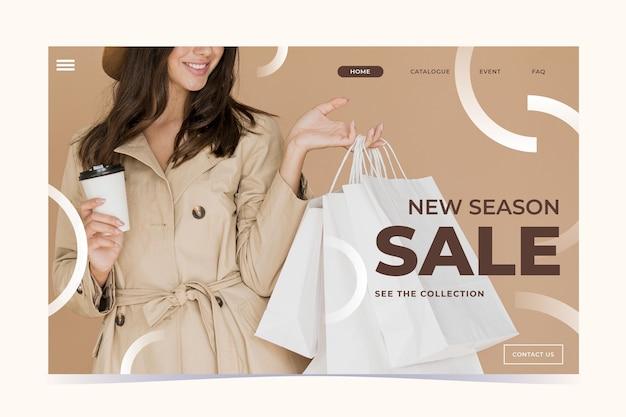 Plantilla de página de destino de venta de moda vector gratuito