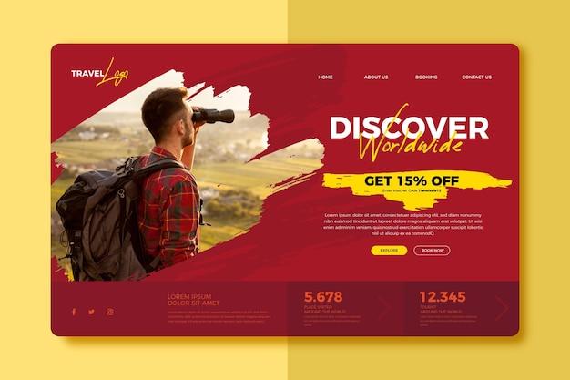 Plantilla de página de destino de venta de viajes con foto vector gratuito