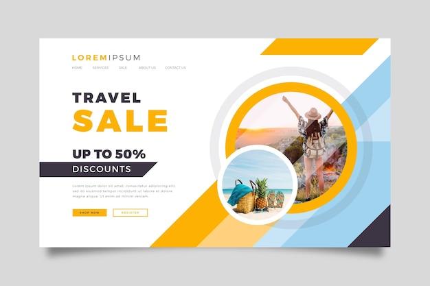 Plantilla de página de destino de venta de viajes vector gratuito