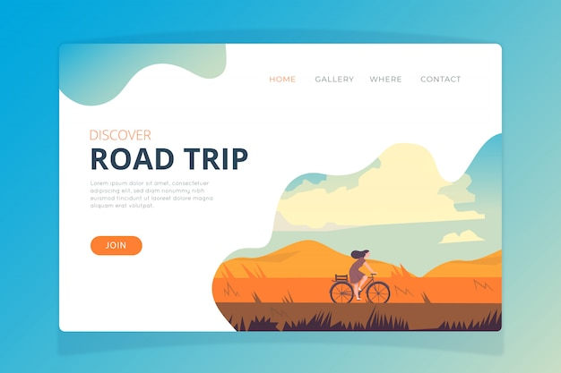 Plantilla de página de destino de viaje por carretera vector gratuito