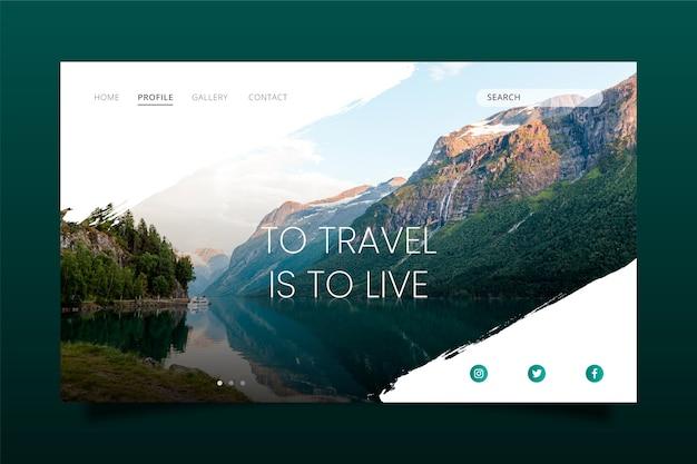 Plantilla de página de destino de viaje con foto vector gratuito