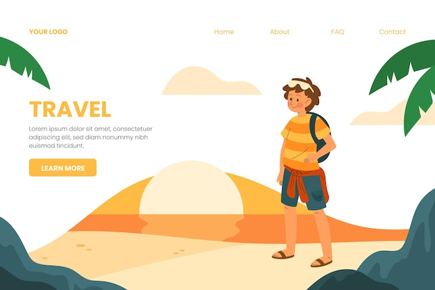 Plantilla de página de destino de viaje vector gratuito