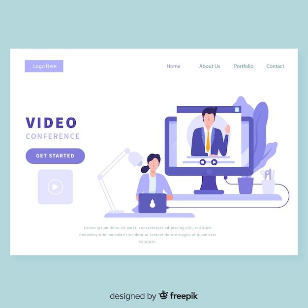Plantilla de página de destino de la videoconferencia vector gratuito