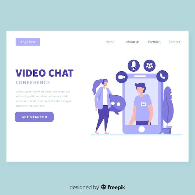 Plantilla de página de inicio de chat de video vector gratuito
