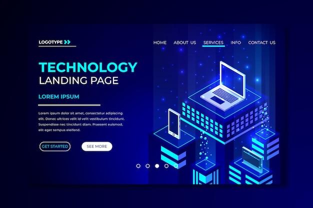 Plantilla de página de inicio de concepto de tecnología vector gratuito