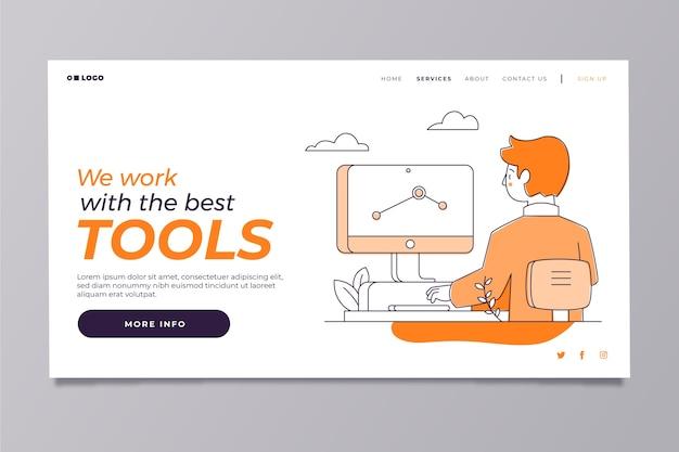 Plantilla de página de inicio moderna con hombre trabajando Vector Premium